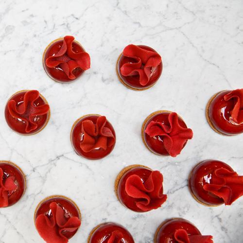 Cherry, chocolate and hazelnut petit gateau
